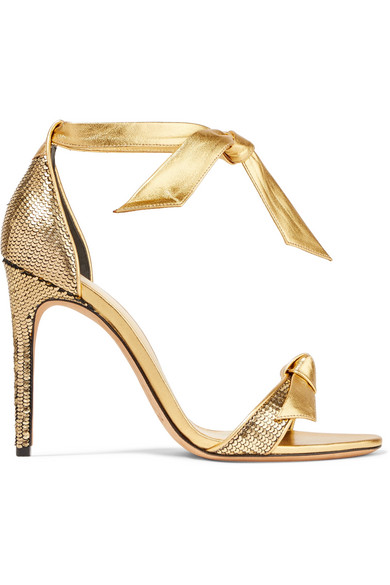 Alexandre Birman - Clarita Bow-embellished Metallic Sequined Leather Sandals - Gold