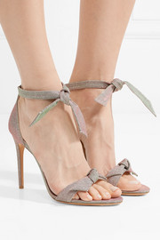Clarita bow-embellished textured-lamé sandals