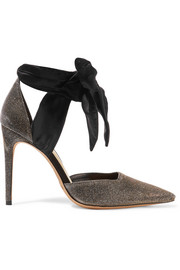 Amalia textured-lamé and satin pumps