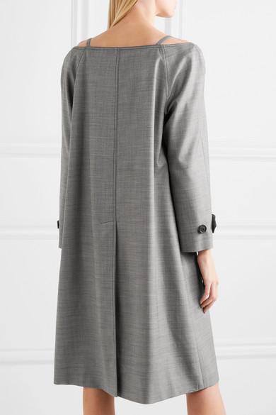 Prada Schulterfreier Mantel aus einer Wollmischung mit Federbesatz