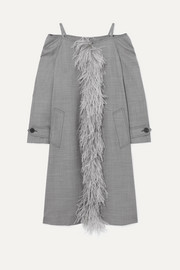 Cold-shoulder feather-trimmed wool-blend coat