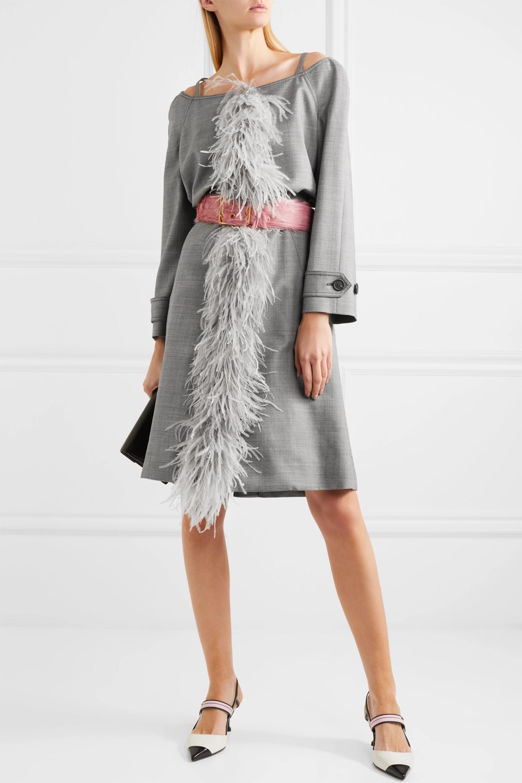 Prada Cold-shoulder feather-trimmed wool-blend coat