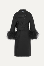 Prada Feather-trimmed cotton trench coat