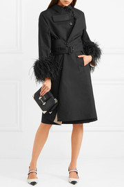 Feather-trimmed cotton trench coat