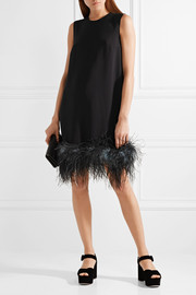 Feather-trimmed crepe de chine dress