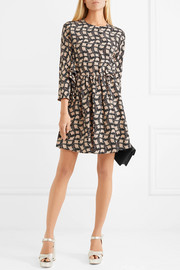 Ruffled printed silk crepe de chine mini dress