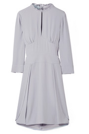 Plissé-trimmed crepe dress