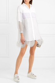 Tulle-paneled cotton-poplin mini dress