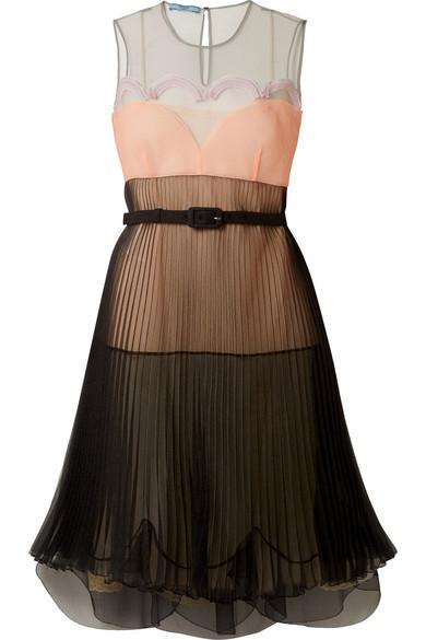 Prada Kleid aus Organza in Colour-Block-Optik mit Plisseefalten