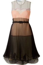 Pleated color-block organza dress