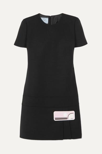 Prada Kleid aus Woll-Crêpe mit Gummiapplikation