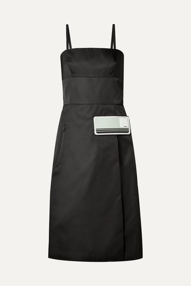 Prada Kleid aus Gabardine mit Gummiapplikationen Auslass Original Faye25Lst5