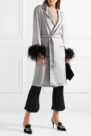 Feather-embellished silk-twill robe
