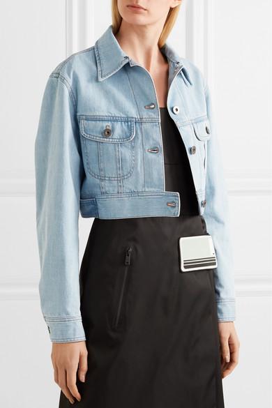 Prada Verkürzte Jeansjacke mit Federn