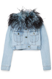 Prada Cropped feather-trimmed denim jacket