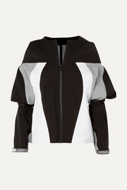 Hooded rubber-appliquéd color-block gabardine jacket