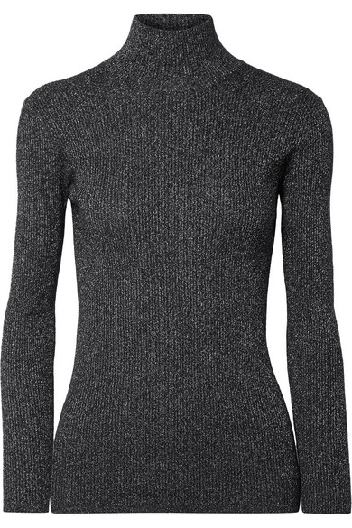 Metallic Ribbed Wool Blend Turtleneck Sweater by Prada