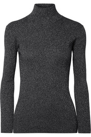 Metallic ribbed wool-blend turtleneck sweater