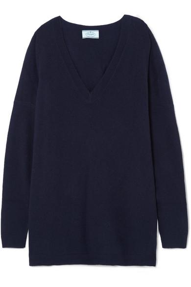 Prada - Oversized Wool Sweater - Navy