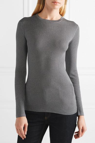 Prada Pullover aus einer gerippten Wollmischung mit Metallic-Effekt