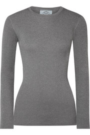 Metallic ribbed wool-blend sweater