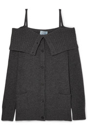 Prada Cold-shoulder wool and cashmere-blend cardigan