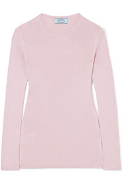 Prada Metallic ribbed wool-blend sweater