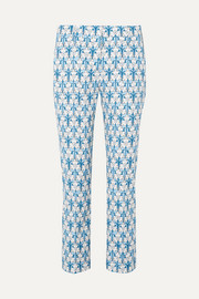 Iris printed stretch-poplin skinny pants