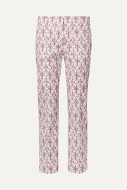 Iris printed cotton-blend poplin skinny pants