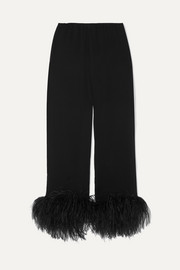 Feather-trimmed crinkled silk-chiffon straight-leg pants