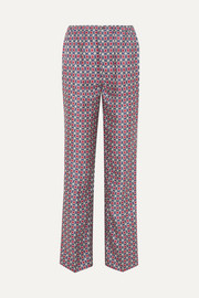 Printed silk-satin twill straight-leg pants