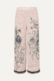 Prada Cropped chain-trimmed printed crepe straight-leg pants