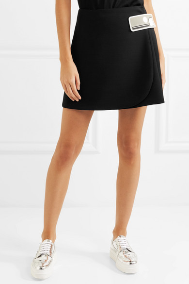 Prada Double Natte Mini Skirt In Wrap Optics Wool With Rubber Application