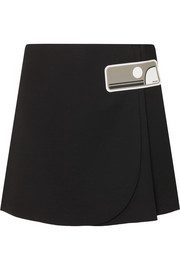 Prada Double Natte rubber-appliquéd wool wrap mini skirt