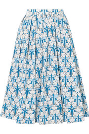 Prada Iris printed cotton-poplin midi skirt