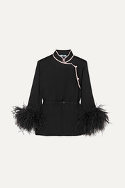 Prada Feather-trimmed silk-crepon top