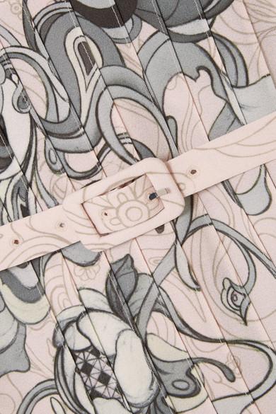 Prada Bluse aus bedrucktem Crêpe mit Federbesatz und Verzierungen