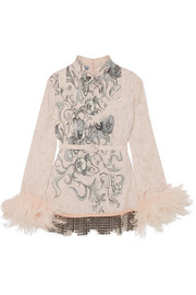 Prada Feather-trimmed embellished printed crepe blouse