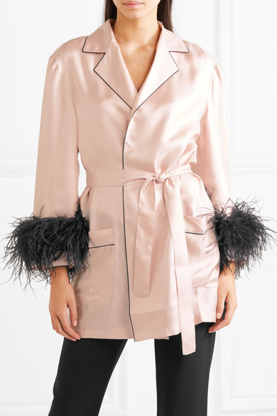 Prada Dressing Gown Made Of Feathers Silk-twill With