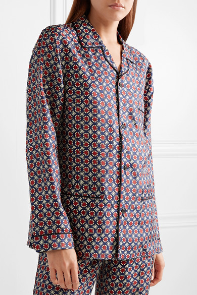 Prada Bedrucktes Oversized-Hemd aus glänzendem Seiden-Twill