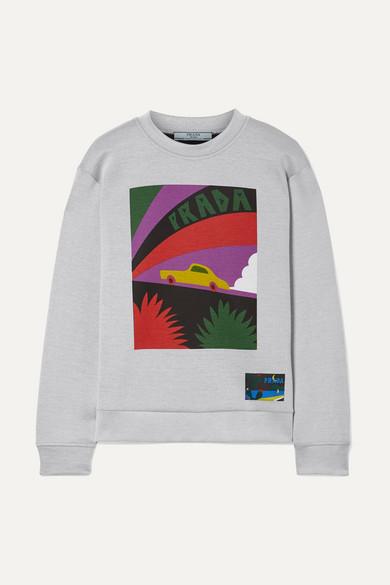 Prada Bedrucktes Sweatshirt aus Jersey aus einer Baumwollmischung