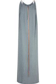 Kalam leather-trimmed cotton-gauze maxi dress