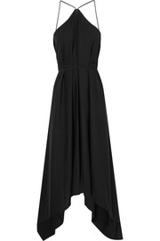 Sinaan leather-trimmed cotton maxi dress