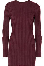 Zip-embellished ribbed wool tunic