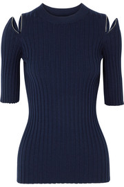 Joseph Zip-detailed ribbed merino wool-blend sweater