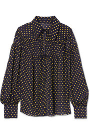Crosby polka-dot silk-georgette blouse