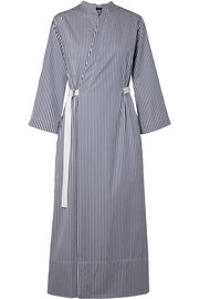 Laury striped cotton-poplin wrap midi dress