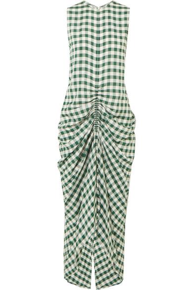 Joseph Zadie kariertes Kleid aus Popeline mit Raffung
