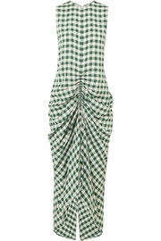 Zadie ruched gingham poplin dress