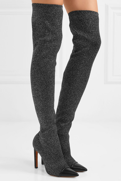 Givenchy Sock Boots From Lurex® With Leather Trim